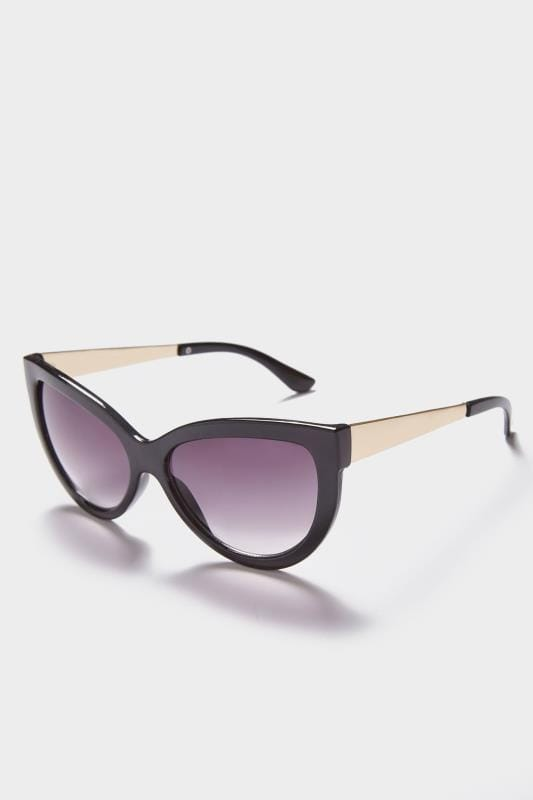 Plus Size Sunglasses Black Cat Eye Sunglasses With Gold Tone Arms With UV 400 Protection