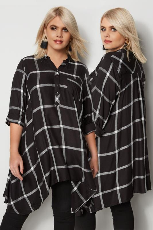 Plus Size Shirts Black Check Asymmetric Shirt