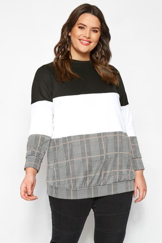 Plus Size Sweatshirts & Hoodies LIMITED COLLECTION Black Check Colour Block Sweater