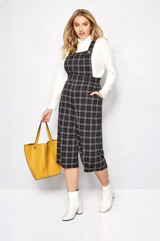 Plus Size Dungarees Black Check Dungarees