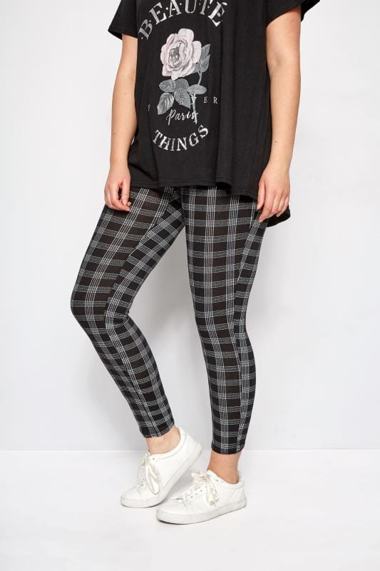 Plus Size Fashion Leggings LIMITED COLLECTION Black Check Leggings