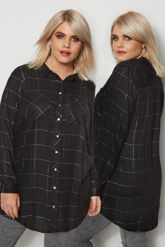 Plus Size Shirts Black Check Print Boyfriend Shirt With Metallic Thread