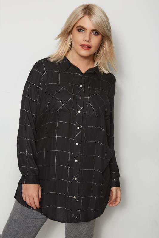 Plus Size Shirts Black Check Boyfriend Shirt With Metallic Thread