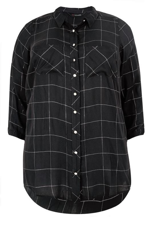 Black Check Print Boyfriend Shirt With Metallic Thread