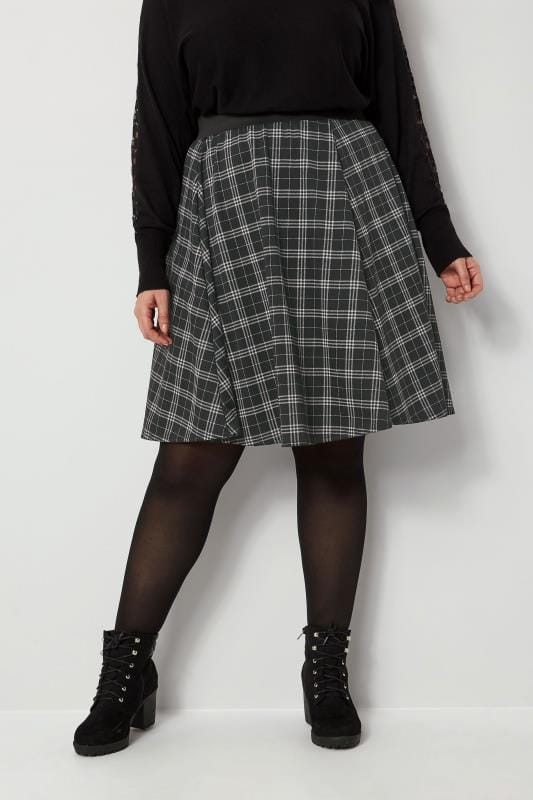 Plus Size Skater Skirts Black Check Skater Skirt
