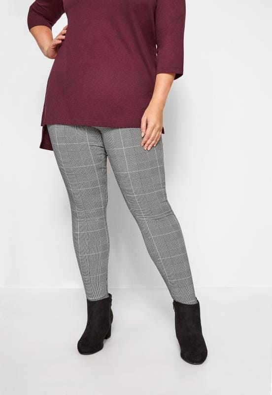 Plus Size Straight Leg Pants Black Check Straight Leg Trousers