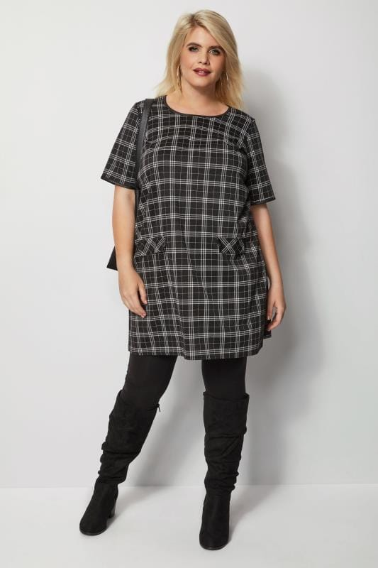 Plus Size Sleeved Dresses Black Check Tunic Dress