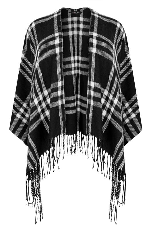 Grote maten Grote maten Poncho's Black Check Wrap With Faux Fur Collar