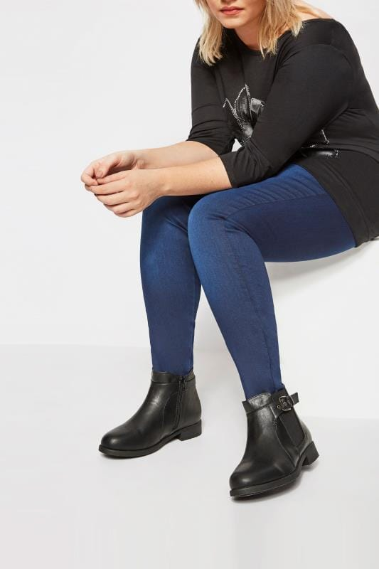 Plus Size Ankle Boots Black Chelsea Ankle Boot In EEE Fit