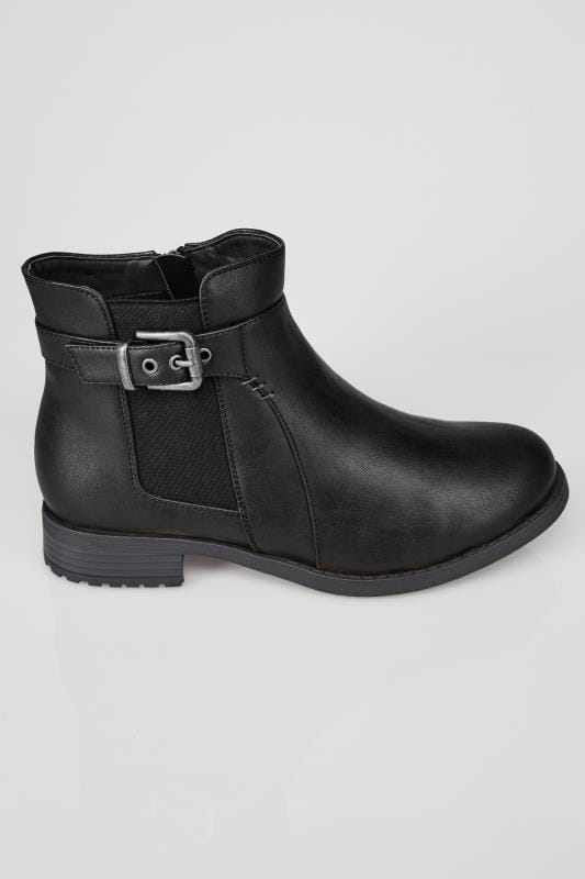 black chelsea ankle boot with buckle detail in eee fit  sizes 4eee to 10eee
