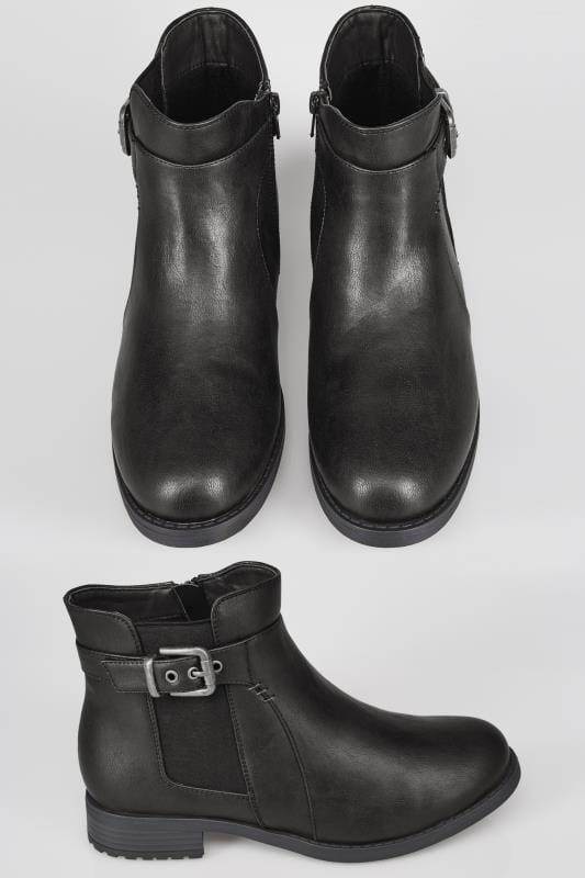 Wide Fit Ankle Boots Black Chelsea Ankle Boot In EEE Fit