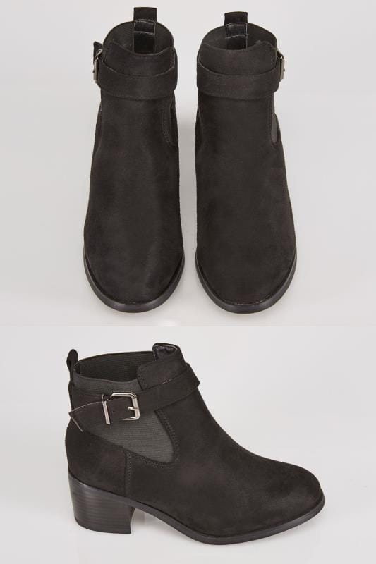 Wide Fit Ankle Boots Black Chelsea Boot With Buckle Detail In E Fit 101382