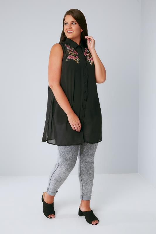 Black Chiffon Embroidered Longline Sleeveless Shirt With Side Splits