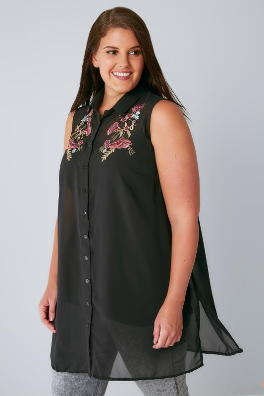 black chiffon embroidered longline sleeveless shirt with side splits plus size 16 to 36. Black Bedroom Furniture Sets. Home Design Ideas