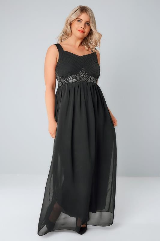 Black Chiffon Maxi Dress With Embellished Waist