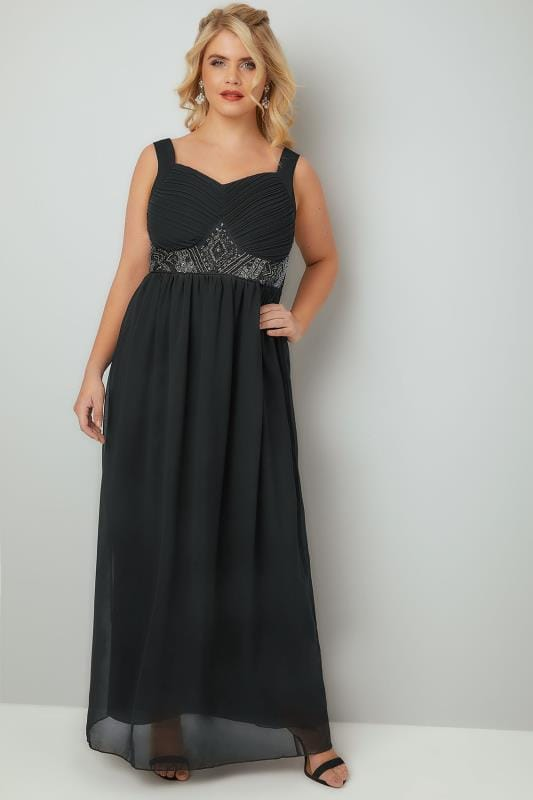 black chiffon maxi dress with embellished waist plus size 16 to 32. Black Bedroom Furniture Sets. Home Design Ideas