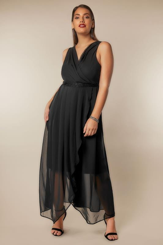 Plus Size Maxi Dresses Black Chiffon Wrap Front Maxi Dress