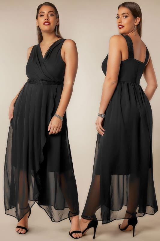 Black Chiffon Maxi Dress With Wrap Front & Lace Details