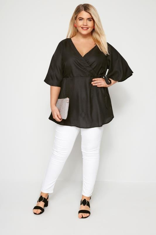 Plus Size Blouses & Shirts Black Chiffon Wrap Top