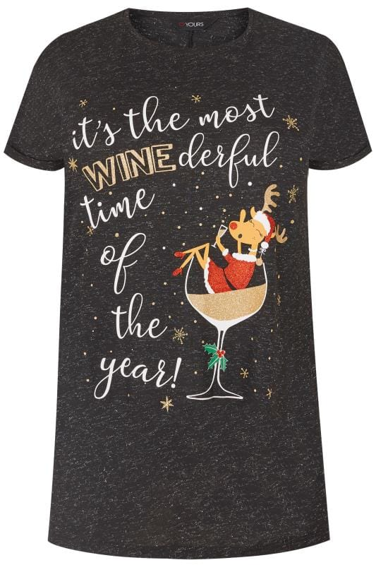 Black Christmas Wine Slogan T Shirt Plus Size 16 To 40