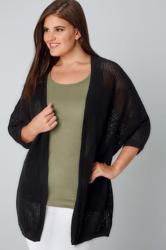 Cover Ups Black Open Knit Cocoon Cardigan With Half Sleeves 124025