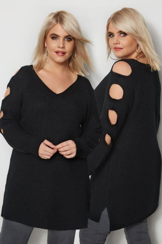 Black Chunky Knit Longline Jumper With Cut Out Sleeves
