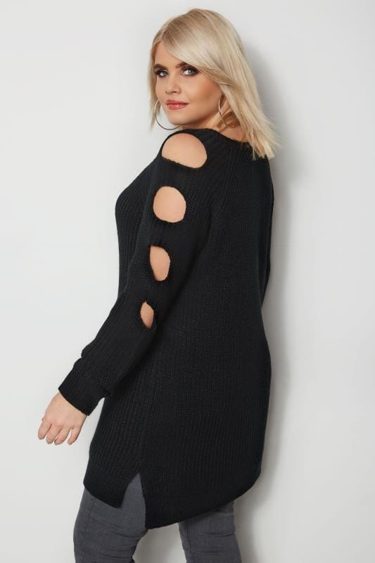 Plus Size Sweaters Black Chunky Knit Longline Jumper With Cut Out Sleeves