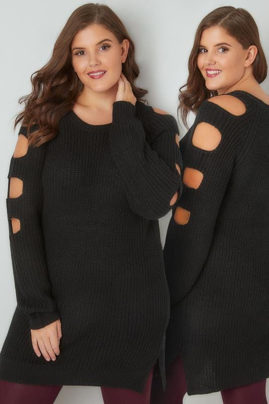 Black Chunky Knit Longline Jumper With Slashed Shoulders