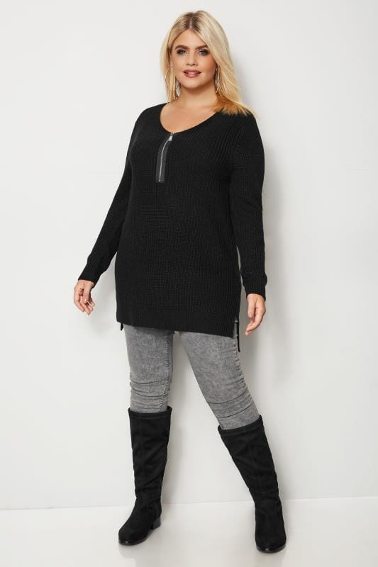 Plus Size Knitted Tops & Sweaters Black Chunky Knit Zip Front Jumper