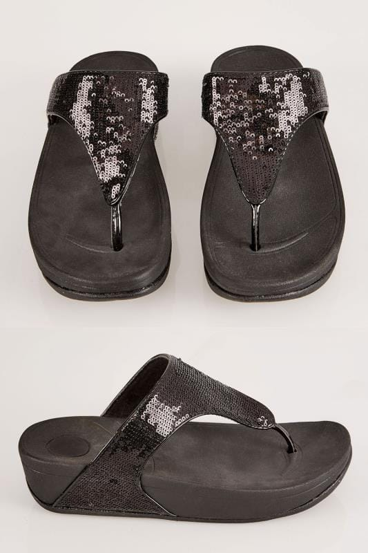 Plus Size Sandals Black Chunky Toe-Post Sequin Sandals In EEE Fit