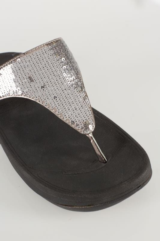 Black Chunky Toe Post Sandals With Silver Sequin Detail In EEE Fit