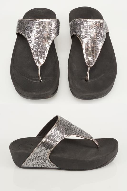 Plus Size Sandals Black & Silver Chunky Toe-Post Sequin Sandals In EEE Fit