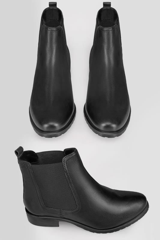 Black Classic Leather Chelsea Boots In TRUE EEE Fit