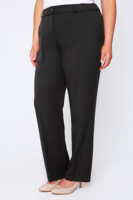 Straight Leg Trousers Black Classic Leg Trousers With Piping Detail 102167