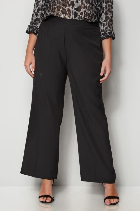 Plus Size Straight Leg Pants Black Classic Straight Leg Trousers With Elasticated Waistband - PETITE