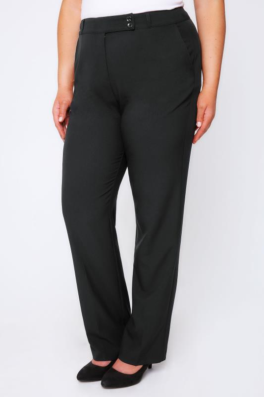 Plus Size Straight Leg Trousers Black Classic Straight Leg Trousers With Pockets