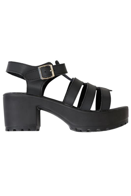 Black Cleated Platform Gladiator Sandals In EEE Fit