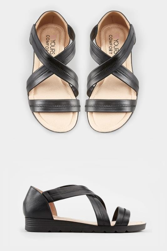 613c9a24706 Wide Fit Sandals Black Closed Back Cross Over Sandals