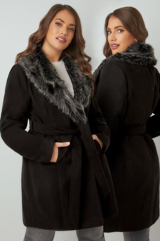 Plus Size Coats Black Coat With Faux Fur Collar & Tie Waist