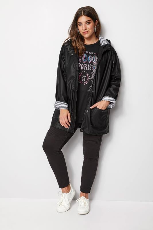 Plus Size Rain Coats Black Coated Jacket With Striped Lining