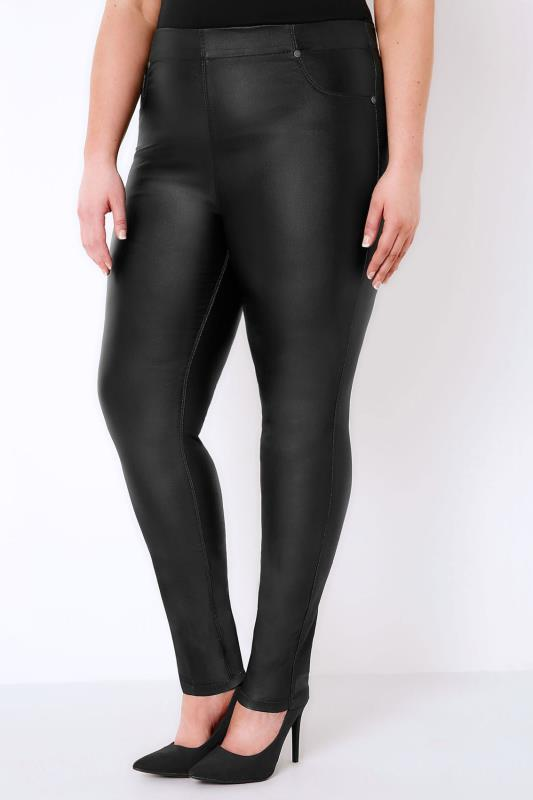 Black Coated Jeggings With Elasticated Waist