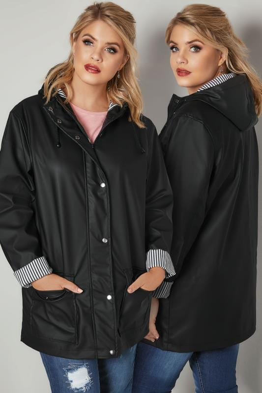 Plus Size Coats Black Coated Mac With Striped Lined Hood