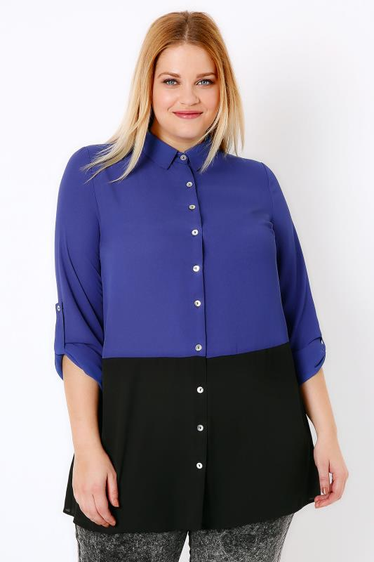 Black & Cobalt Blue Colour Block Woven Shirt
