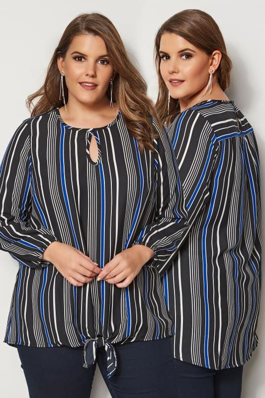 Black & Cobalt Blue Striped Blouse With Tie-Front