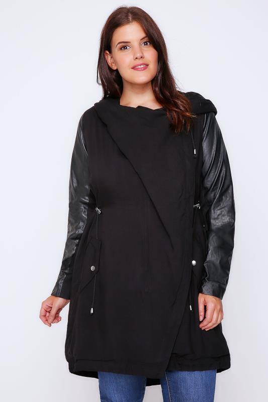 Black Cocoon Shaped Parka Coat With PU Sleeves
