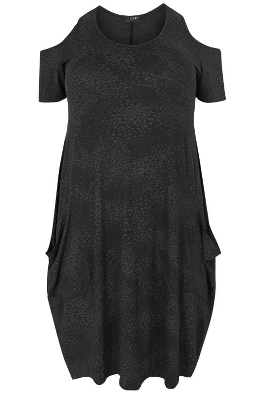 Plus Size Midi Dresses Black Animal Print Cold Shoulder Drape Pocket Dress