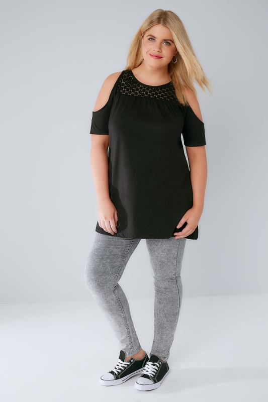 Black Cold Shoulder Jersey Top With Lace Yoke