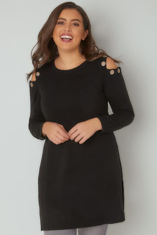 Black Cold Shoulder Longline Jumper With Eyelet Detail