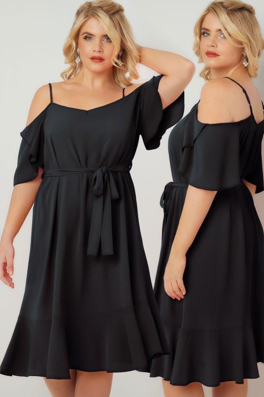 Party Dresses Black Cold Shoulder Swing Dress With Frill Hem 136101