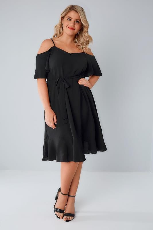 Black Cold Shoulder Swing Dress With Frill Hem